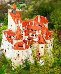 Photo about An aerial view overlooking Bran Castle in Romania, also known as Dracula's Castle. Image of romania, roofs, historic - 5167153 Beautiful Castles, Beautiful Places, Bran Castle Romania, Dracula Castle, Chateau Medieval, Medieval Gothic, Rio Grande Do Norte, Famous Castles, Voyage Europe