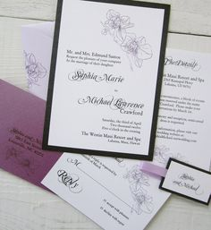 Orchid Wedding Invitation  Purple Floral Flower by RiverCityStudio, $5.50