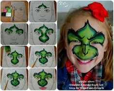 Step by Step Grinch Face Paint Design by Chubby Cheeks Body Art in Savannah, Georgia - Ashlie Alvey Face Painting Images, Face Painting Tutorials, Face Painting Designs, Painting Patterns, Body Painting, Face Paintings, Mime Face Paint, Face Paint Makeup, Dinosaur Face Painting