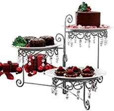 3 Tier Elegant Clear Beaded Swivel Silver Triple Dessert Cake Stand Wedding Party Server, 12 Inches Length by 7 Inches Width by 15 Inches Height CTD Store Thanksgiving Appetizers, Christmas Appetizers, Christmas Treats, Christmas Recipes, Christmas Apps, Christmas Cooking, Thanksgiving Table, Christmas Goodies, Thanksgiving Recipes