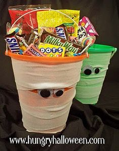 Halloween Mummy Buckets:            -1 beach pail of any color  -1 roll of gauze per pail  -2 wiggly eyes per pail  -glue