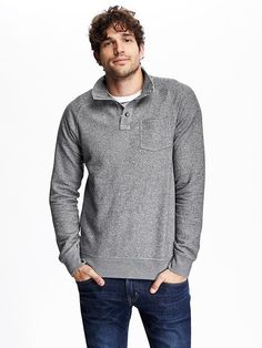 Fleece Mock-Neck Pullover
