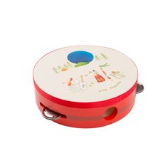 Moulin Roty Tambourine, Wooden musical instrument with holding holes, Ideal first percussion instrument, illustrated with Moulin Roty's Zig & Zag characters Wooden Musical Instruments, French Fabric, Musical Toys, Tambourine, Red Paint, Toys Shop, Percussion, Baby Accessories, Wood And Metal