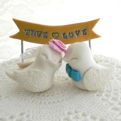 Valentine Love Bird Wedding Cake Topper  Ivory Pink by LavaGifts, $72.00