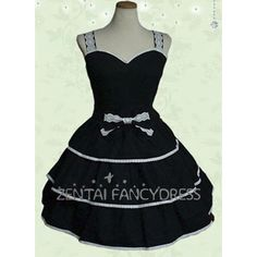 Sleeveless Strips Multi Layers Classic Black Cotton Lolita Dress