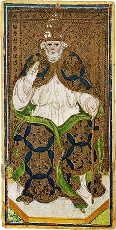 Arcane V : Le Pape - Tarot Visconti-Sforza.