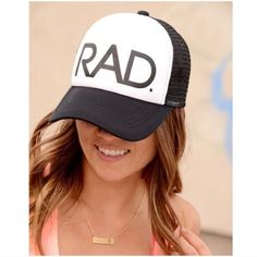 73b747fe7bd Rad trucker hat Rad- Trucker Hat Colors  Black or Neon Yellow Description   Mesh back adjustable trucker hat with RAD. Fit  One size fits most.