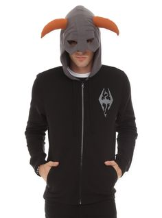 "Black zip hoodie with Nord helmet design and ""FUS RO DAH"" design on back."