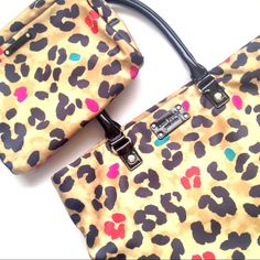 •Kate Spade• Leopard Pop Art Tote Super cute. Rare design. Gorgeous inside almost flawless. Black patent trim. Leopard with pops of color nylon outer. Minor wear to the corners. Makeup/accessory bag sold separate. kate spade Bags Totes