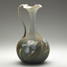 Rookwood Dull Finish in 1891 by Matthew Daly. Shape W L. Fine Porcelain, Porcelain Ceramics, Painted Porcelain, Porcelain Tiles, Ceramic Pitcher, Glass Ceramic, Pottery Vase, Ceramic Pottery, Rockwood Pottery