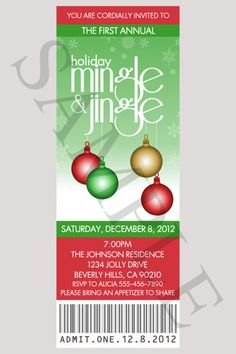 HOLIDAY PARTY Ticket Invitations Christmas Mingle by nowanorris, $9.00