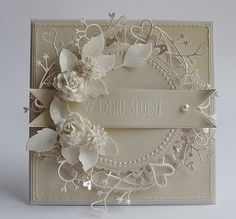 Dorota_mk: Gościnnie dla Our Creative Corner, very clever to make a circle with cherish border . Pretty Cards, Cute Cards, Diy Cards, Shabby Chic Karten, Shabby Chic Cards, Wedding Anniversary Cards, Wedding Cards, Happy Anniversary, Cricut Anniversary Card