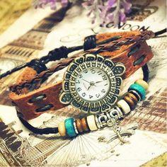 Handmade Vintage Ladies Girls Womens Mens Leather Quartz Wrist Watches (GA0055) from Stan Vintage Watches
