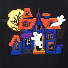 Women's #Halloween Ghost Spook House Embroidered Black Sweatshirt Top #Women'sPlus Size 3X Holiday Editions