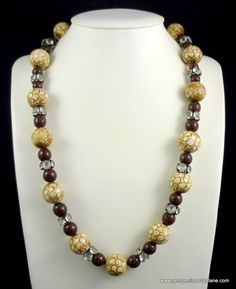Rousselet  Galalith and Glass Bead Necklace with Huge Rhinestone Rondelle Spacers