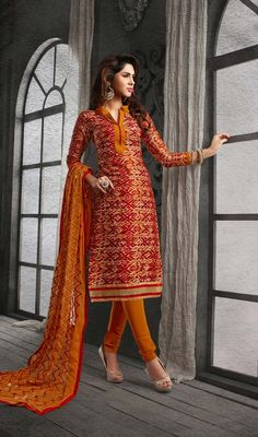 This can be worn for different day events red chanderi cotton silk printed churidar suit. The block print work appears to be chic and great for any occasion. #FashionableCasualDress