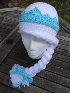 "Elsa of Arendelle Frozen Crocheted Hat Pattern by HHCrafts on Etsy  Would like to do w/o ""hair"""