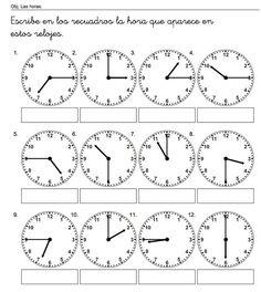 escribe las horas                                                                                                                                                                                 Más