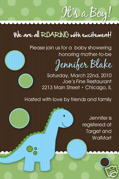 Baby Dinosaur baby shower invitation by Martin design Baby Shower