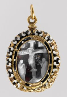 Christ Crucified between the Virgin and Saint John, 14th century  Probably French  Onyx; mounted, probably in France in the 17th century, as a pendant in gold with enamel and rock crystal