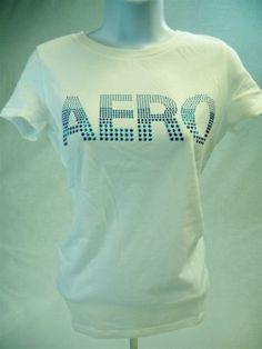 Aeropostale-Womens-Juniors-Short-Sleeve-Graphic-T-shirt-White-size-M-Aero-Tee