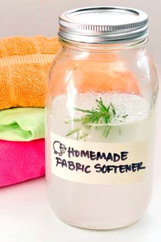 Homemade Fabric Softener: 4cups distilled white vinegar, 10 drops essential oil (,fresh rosemary/mint/lavender). 1/4 cup per load of laundry