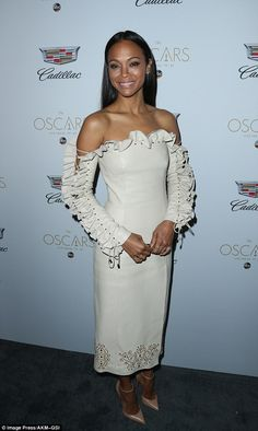 Cream of the crop!Zoe Saldana pulled out all the stops as she partied ahead of the Academy Awards at Cadillac's Annual Oscar Week Soiree at the Chateau Marmont in West Hollywood on Thursday