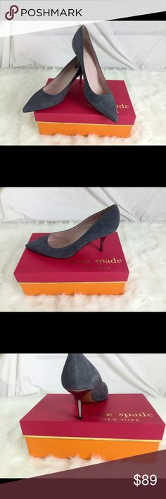 "NIB Kate Spade Grey Suede Shoes.  Sz 10 Check out this new in box Kate Suede Shoes.  Sz 10.  Heel height 3"".  These were display shoes.  They are in perfect condition. kate spade Shoes Heels"