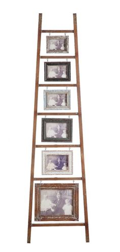 Wood & MDF Photo Frame Picture Holder Ladder W/ 6 Frames Distressed Finish Country Home Decor Pallet Picture Frames, Pallet Pictures, Family Picture Frames, Distressed Picture Frames, Hanging Picture Frames, Picture Frame Sets, Hanging Pictures, Picture On Wood, Contemporary Picture Frames