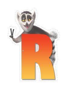 Lemur letter R. Madagascar 2, Penguins Of Madagascar, Childrens Alphabet, Cute Alphabet, Cool Lettering, Vintage Lettering, Dreamworks Movies, Jungle Party, Craft Party