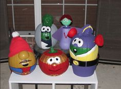 "VeggieTale pumpkins decorated as ""The League of Incredible Vegetables""!"
