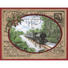 Train Postcard Rubber Stamp