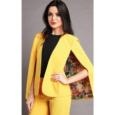Jezzelle Yellow Cape Blazer ($190) ❤ liked on Polyvore featuring outerwear, jackets, blazers, yellow, blazer jacket, woven jacket, cape coat, cropped jacket and cropped blazer jacket