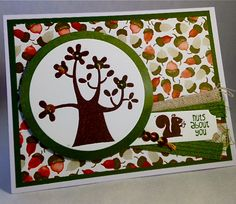 Uses the Nuts about You  stamp set and Color Me Autumn designer series paper from the Stampin' Up! 2014 Annual Catalog