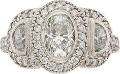 Estate Jewelry:Rings, Diamond, White Gold Ring. ...