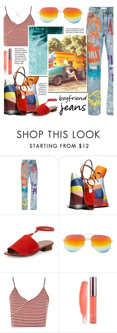 """""""Boyfriend Jeans: Tropical Summer Edition"""" by the-amj ❤ liked on Polyvore featuring Faith Connexion, Tory Burch, Topshop and A Weathered Penny"""
