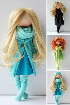 Fabric doll Turquoise doll Birthday doll by AnnKirillartPlace My Etsy Shop, Art Dolls, Doll Clothes, Action Figures, Nursery, Turquoise, Textiles, Sewing, Fabric Dolls