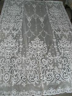 Vintage Tambour Tulle Net Lace Panel Curtain Bedspread Antique Bridal Veil | eBay