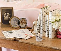 Dust off penned notes from the past and bring them out into the open. Use a photocopier to enlarge the letters and print the results on pretty paper stock. Form dust jackets for books from the paper and display the wrapped books on tabletops or shelves. Flea Market Decorating, Decorating Tips, Cottage Decorating, Vintage Diy, Vintage Ephemera, Vintage Display, Vintage Decor, Craft Projects, Projects To Try