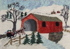 A vintage hooked rug made by Pearl McGown depicting a New England scene of snow covered landscape with a horse pulled sleigh approaching a red covered bridge, made of wool on a burlap base.