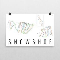 Snowshoe Mountain Ski Map Art, Snowshoe WV, Snowshoe Trail Map, Snowshoe Ski Resort Print, Snowshoe Poster, Snowshoe Mountain, Art, Gift