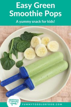 Are you after a delicious and refreshing healthy frozen summer treat? This Homemade Green Smoothie Popsicle is Amazing! The recipe is super simple with a great combination of green veggies and fruits, this healthy fresh food mash-up makes a delicious frozen treat for adults and for kids alike! Fresh spinach and banana add awesome vitamins and nutrients to keep you running and happy all summer long! A Completely kid-friendly healthy dessert or snack idea! Healthy Snacks To Make, Healthy Dessert Recipes, Healthy Treats, Yummy Snacks, Baby Food Recipes, Toddler Recipes, Veggie Recipes, Yummy Recipes, Desserts