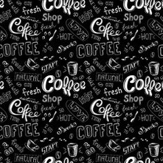 seamless doodle coffee pattern on black background