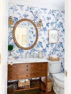 Blue and White English Bathroom