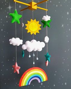 Rainbow baby mobile sun clouds mobile baby boy mobile handmade mobile baby girl mobile baby shower m Diy Mobile, Baby Mädchen Mobile, Cloud Mobile, Hanging Mobile, Baby Mobiles, Rainbow Nursery, Rainbow Baby, Colorful Clouds, Diy Bebe