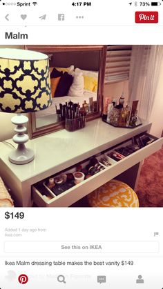 I would prefer this idea to use as a small desk instead of a vanity. Just don't know if I can apply my make-up sitting down