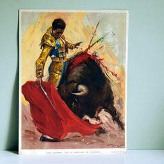 Vintage Juan Reus Bullfighting Lithograph, circa 1950 by calloohcallay, via Flickr