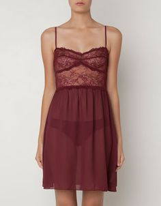 Floral lace nightdress - Nighties & Jumpsuits - OYSHO