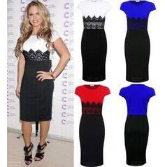 2014 New Fashion Slim Patchwork Lace black White evening dress vestido de festa 3 Colors $18.98