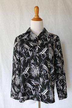PENDLETON Silk cotton blend Everyday Blouse Black & White Bamboo print NEW Small #Pendleton #Blouse #Casual